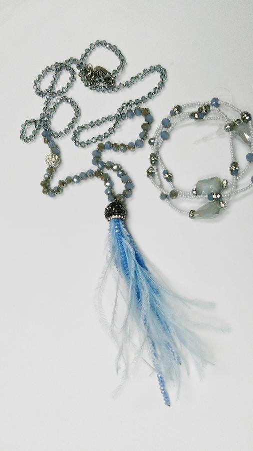 f7344e385 ... modrá Ďalší obrázok produktu Náhrdelník extravagantný s náramkom, ...