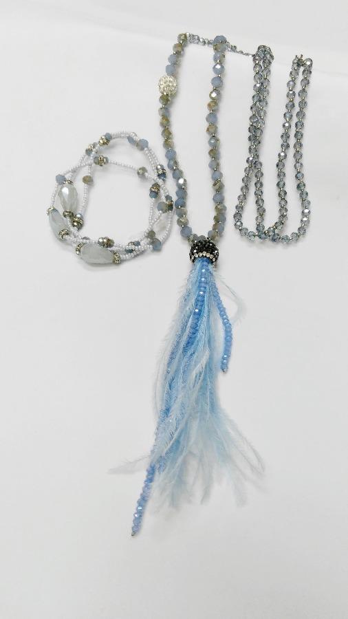 470479e25 ... modrá Ďalší obrázok produktu Náhrdelník extravagantný s náramkom, modrá