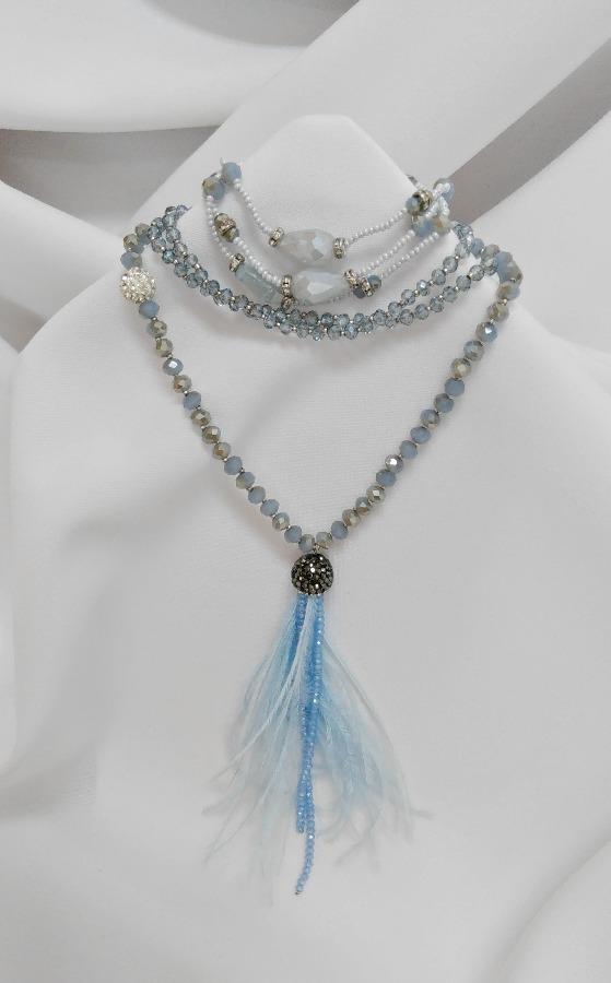 508759cb6 Náhrdelník extravagantný s náramkom, modrá - AuroraShop