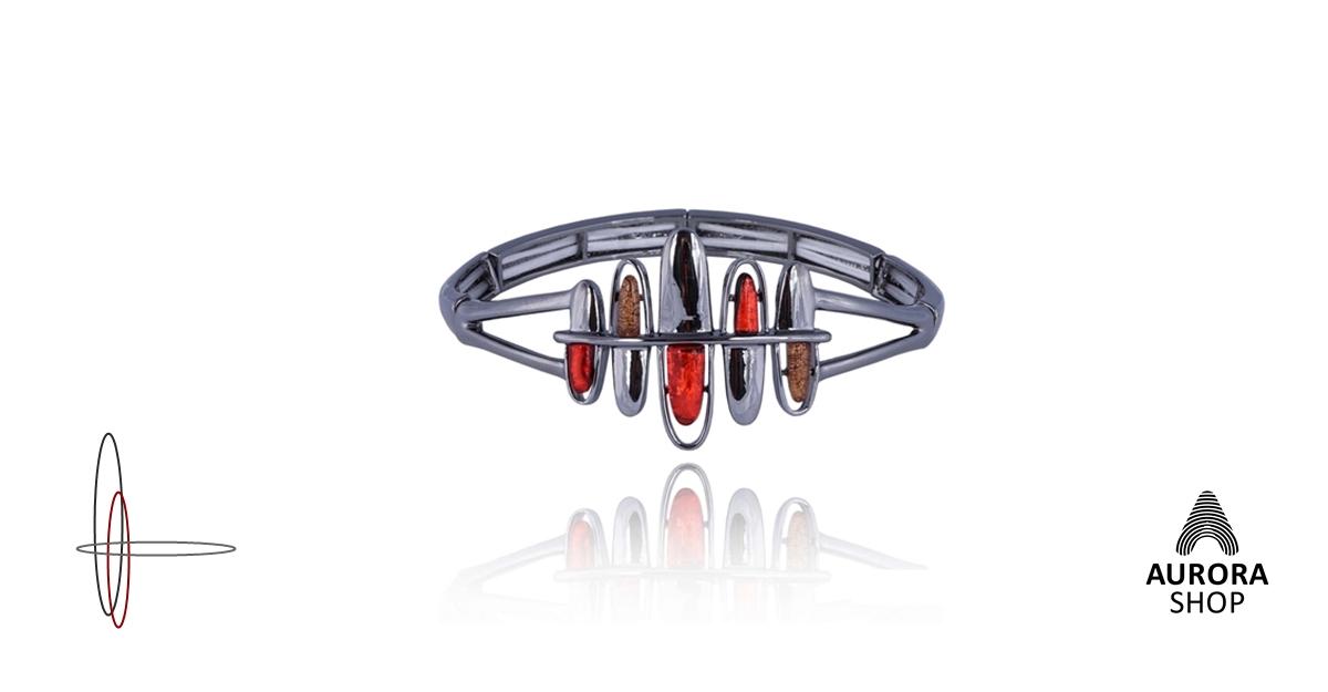 912b2c294 Obrázok produktu Náramok extravagantný, červená, hnedá, antracitová